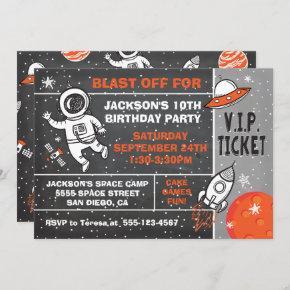 Astronaut Space Birthday Party Ticket invitation