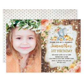 Autumn Elephant Fall Floral Rustic First Birthday Invitation
