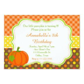 Autumn Fall Pumpkin Birthday Card
