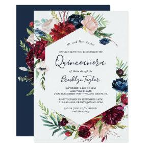 Autumn Garden | Burgundy Quinceañera Invitation