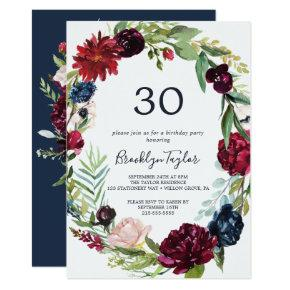 Autumn Garden | Burgundy Wreath 30th Birthday Invitation