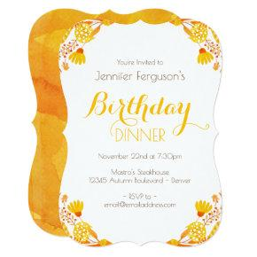 Autumn Leaves and Branches Birthday Invitations