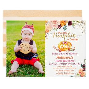 Autumn Pumpkin Baby Birthday with Kids Photo Invitation
