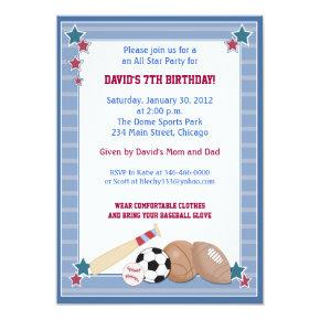 BABY ALL STARS Sports BIRTHDAY Invitations