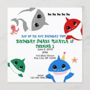 Baby Birthday Shark Personalized Invitation