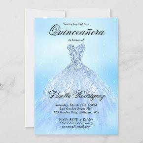 Baby Blue Quinceanera Invitation