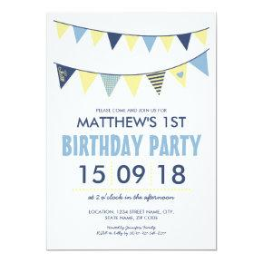 BABY BLUE YELLOW COUNTRY BUNTING BIRTHDAY INVITATION