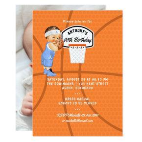 Baby Boy Basketball Birthday Party photo Invitations
