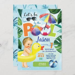 Baby boy first birthday pool party tropical invitation