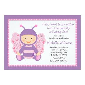 Baby Butterfly Birthday Party Invitations