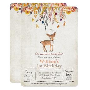 Baby Deer Fall 1st Birthday Invitation