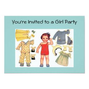 Baby Doll Paper Invitations