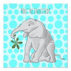Baby Elephant Birthday Party Invitations