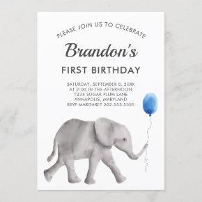 Baby Elephant Birthday Party Invitation Blue Gray