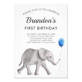 Baby Elephant Birthday Party Invitation Blue Gray