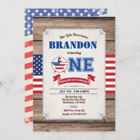 baby first birthday July 4th Independence Day Invitation
