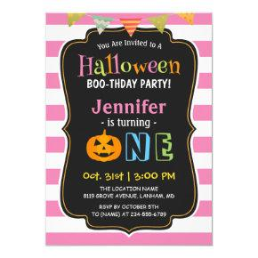 Baby Girl Pink Halloween First Birthday Party Invitations