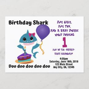 Baby Girl Shark Personalized Birthday Party Invitation