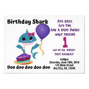 Baby Girl Shark Personalized Birthday Party Invitation
