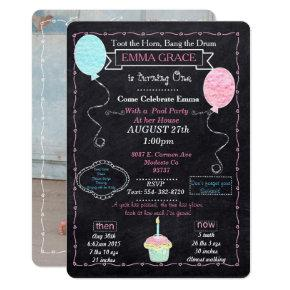 Baby Girls One year Party Invitations