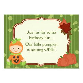 Baby in Pumpkin Costume 1st Birthday Invitations