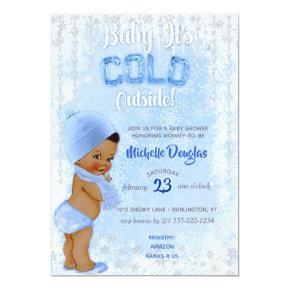 Baby It's Cold Snowflake Blue Ethnic Boy Shower Invitation