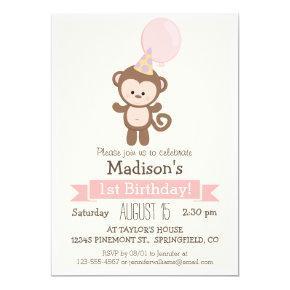 Baby Monkey Girl's Birthday Party Invitations