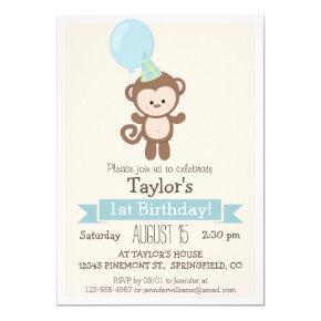 Baby Monkey Kid's Birthday Party Invitation