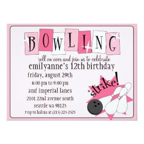 Baby Pink Totally Retro Bowling Birthday Party Invitation