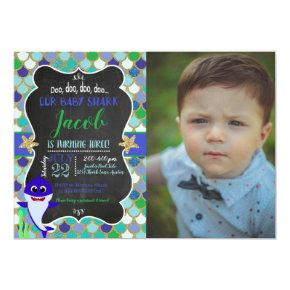 Baby Shark Boy Birthday Photo Invitation