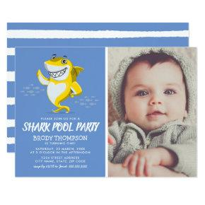 Baby Shark Pool Birthday Party Invitations