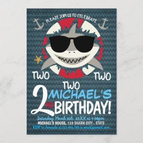 Baby Shark Two Two Two Birthday Invitation