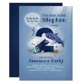Baby Shark Under the Sea 2nd Birthday Invitation