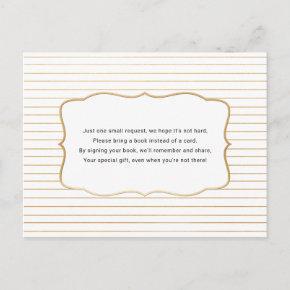 Baby Shower Book request , white gold Invitation Post