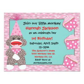 Baby Sock monkey cupcake Birthday Party Invitation
