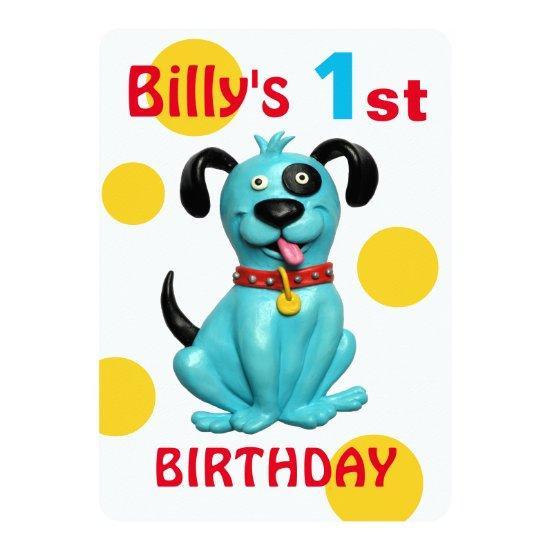 Babys 1st Birthday Party Cute Blue Puppy Dog Boy Card Candied Clouds