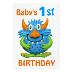 Baby's 1st Monster Birthday Party Invitation