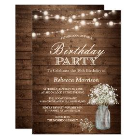 Baby's Breath Rustic String Lights Birthday Party Invitations