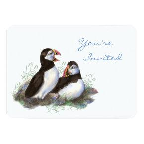 Back to Nature Puffin Bird Birthday Party Invitation