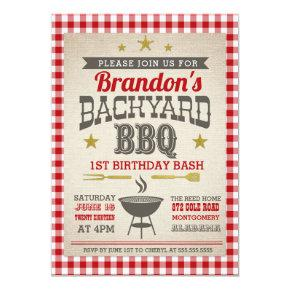 Backyard BBQ Bash Birthday Invitations