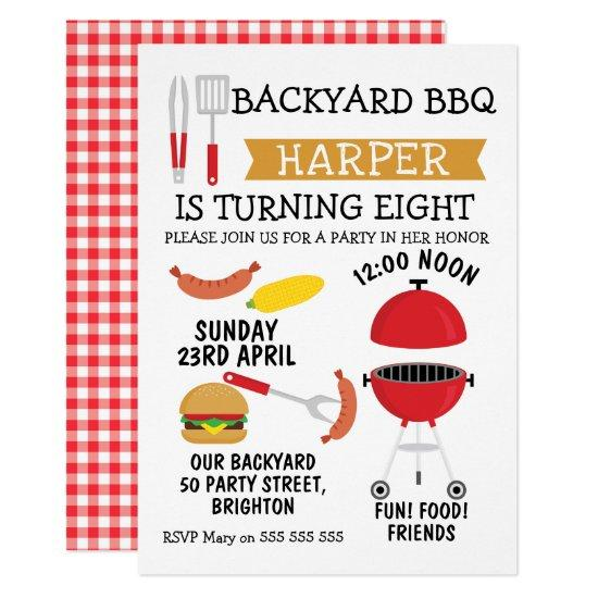 Backyard BBQ Birthday Party Invitation Candied Clouds