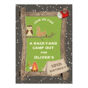 Backyard Camp Out Birthday Party Invitation