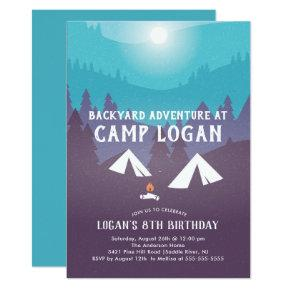 Backyard Camping Birthday Invitations