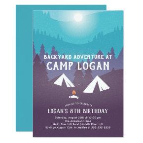 Backyard Camping Birthday Invitation