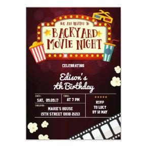 Backyard Movie Night Birthday Party Invitation