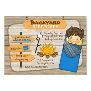 Backyard Sleepover Birthday Party Invitation