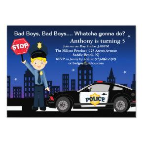 Bad Boys, Bad Boys in the City Birthday Invitations