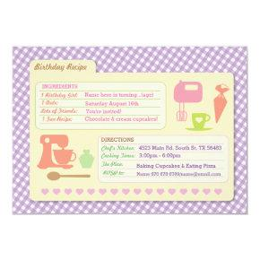 Bakery Baking Recipe  Birthday Party invite