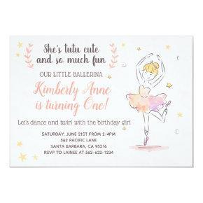 Ballerina Birthday Invitations Tutu Cute