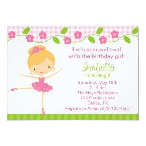Ballerina Girl Birthday Party Invitations